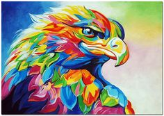 Easy animals to paint on canvas animal paintings colorful acrylic hand painted impressionist eagle painting mod Colorful Animal Paintings, Bear Paintings, Colorful Animals, Oil Paintings, Eagle Painting, Oil Painting On Canvas, Canvas Art, Canvas Size, Artist Canvas
