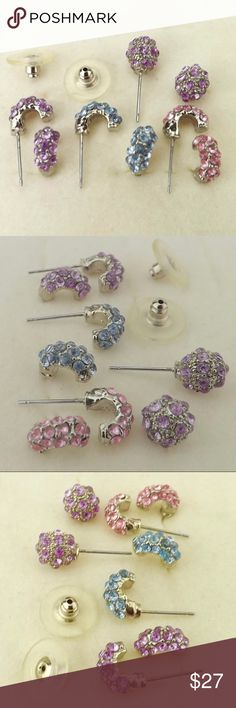 """vintage jewelry lot 4 pair petite crystal studs 1970s vintage earring lot 4 pair mod disco crystal pave' stud earrings petite silver tone ball  J hoops millennial pink blue purple glittery with push disk backs good vintage condition rarely/gently worn no detected issues  approx measurements: 1/2"""" long posts J hoops: 1/2"""" long x 1/4"""" wide balls: 1/2"""" diameter round vintage Jewelry Earrings"""
