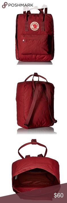 Fjallraven Kanken Daypack (Ox Red) * 100% Polyester * Imported * Product Dimensions : 15(H) x 10.6(W) x 5.1(D) inches * One interior slip pocket. One exterior pocket. Posting photos of actual item later..... Fjallraven Bags Backpacks