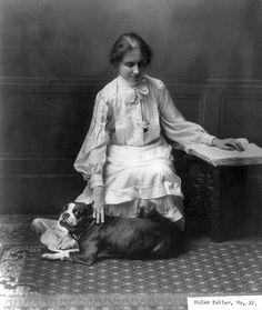 Helen Keller, with pit terrier