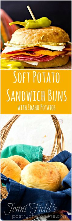 These soft sandwich buns made with Idaho Potatoes are the soft, squishy-yet-sturdy potato rolls of your dreams. You are going to love the flavor, texture, and how long they stay fresh! Brought to you in partnership with Idaho Potatoes. #ad | pastryche