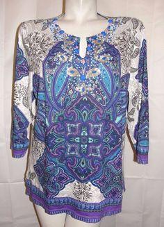 Chico's Top Women's Sz 3 XLarge Blue Purple Paisley Sequins Cotton Modal Shirt #Chicos #KnitTop #Casual