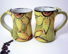 Pottery Mug Clay Cup Yellow Sunflower on by ClayLickCreekPottery,