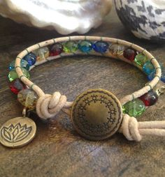 "Dancing Turtle - Lotus Leather Wrap Bracelet ""Beach Chic""$30.00"