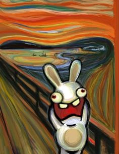 If you like this, check out the updated version: Bunnies Scream Again This is my homage to my fellow Norwegian Edvard Munch (his Scream of course) . Bunnies Do Scream Scream Parody, Scream Art, Edvard Munch, Le Cri Munch, Japon Illustration, Rabbit Art, Arte Disney, Famous Art, Illustrations