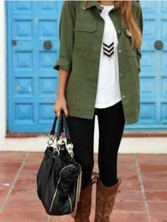 Olive military jacket + black leggings + white tee + chevron necklace = #PERFECTION
