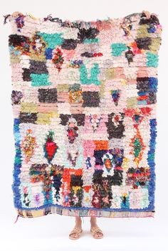 Morocco's Berber craft Boucherouite rugs. Can also be hung on walls. Authentic vintage rugs that make a colorful and warm statement. Made from sustainable materials by local artisans – including cotto