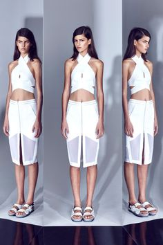 Crossover crop and Preen-esque layered skirt - Dion Lee - OIL + WATER : RESORT 14 Photographed by: Justin Ridler