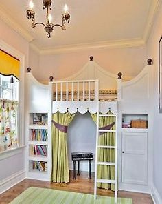 """adorable idea for a child's room, bed is out of the way, and there is a little """"fort"""" or """"house"""" to play in!"""