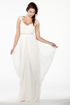 Delicate Flutter Sleeves on Draping Silk Chiffon Dress