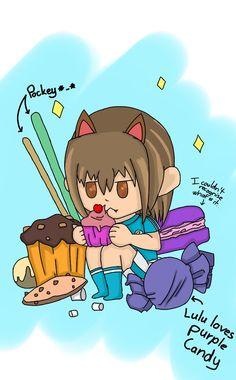 Chibi Neko Rebi-chan eating a lot of candy!