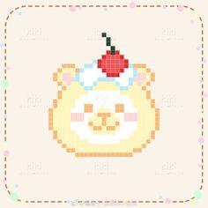 Kawaii Cross Stitch, Cute Cross Stitch, Cross Stitch Designs, Cross Stitch Patterns, Pixel Art Templates, Perler Bead Templates, Perler Patterns, Perler Beads, Perler Bead Art