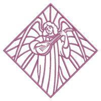 Redwork Stained Glass Angels - Wind Bell Embroidery | OregonPatchWorks Rose Embroidery, Custom Embroidery, Embroidery Thread, Machine Embroidery Designs, Stained Glass Angel, Free Design, Angels, Outdoor Blanket, Scrappy Quilts