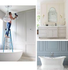 How We Added Decorative Wall Molding To Our Master Bathroom Blue Bathroom Decor, Bathroom Interior Design, Bathroom Ideas, Peach Bathroom, Restroom Ideas, Bathroom Gallery, Neutral Bathroom, Bathroom Pictures, White Bathroom