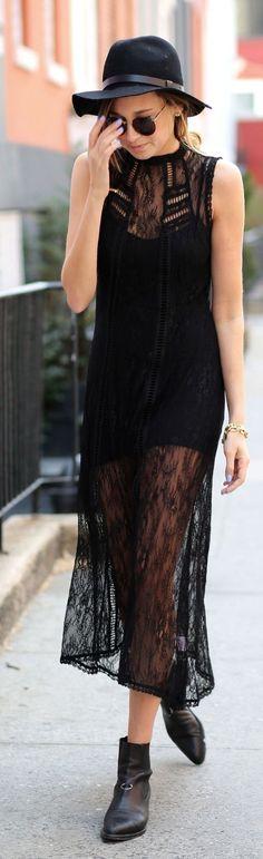 Ebony Lace Sheer Maxi Dress... - Street Fashion