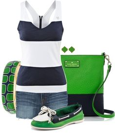 Blue & White Stripes and Green<3