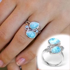 Larimar Rings, Larimar Jewelry, Jewelry Rings, Jewelery, Unique Jewelry, Metal Jewelry Making, Blue Topaz Ring, Wedding Jewelry, Jewelry Design