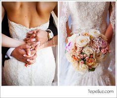 Romantic Couple Wedding Photos  Lace Wedding Dress  Romantic Photo  www.TepeSuz.com