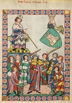 Codex Manesse - Example of different colored / parti clothing