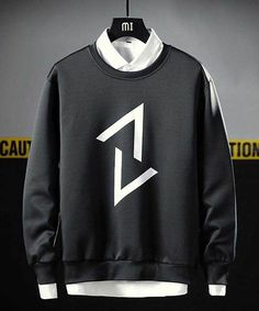 Men's black up down arrow print pull over sweatshirt Sweatshirts Online, Printed Sweatshirts, Mens Sweatshirts, Mens Tees, Casual T Shirts, Casual Outfits, Men Casual, Trendy Hoodies, Arrow Print