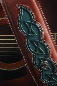Celtic Guitar Strap, Leather Guitar Strap:  Dara Mark Guitar Strap