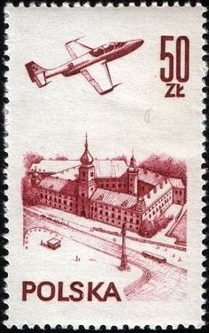 Plane over Warsaw castle Warsaw, Postage Stamps, Ephemera, Plane, Castle, Money, My Favorite Things, Vintage, Art