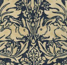 Brer Rabbit Linen Fabric  Classic William Morris fabric in navy blue on beige