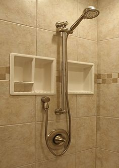 look how close those niches are! shower niche under shower head - do-able! Add to rest of bathroom plan. Go to links to see more ideas. Bathroom Vanity Decor, Modern Bathroom Decor, Bathroom Design Small, Bathroom Ideas, Ikea Bathroom, Bathroom Makeovers, Downstairs Bathroom, Bath Ideas, Master Bathroom
