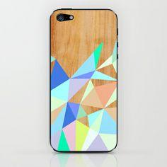 Wooden Geo Aqua iPhone & iPod Skin by House Of Jennifer - $15.00