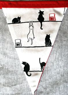 Kitty Cat Bunting Flags in red, white & black. via Etsy. Christmas Bunting, Bunting Flags, Happy House, Red Flag, Red Fabric, Red Ribbon, Red And White, Black, Future House