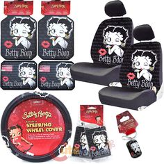 Betty Boop Car Accessories | Betty Boop Low Back Car Seat Covers Accessories Set 12 PC Set Timeless ...
