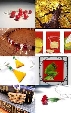 Summer Reds with Splashes of Yellow by RosysJewelsandYarn on Etsy --Pinned with TreasuryPin.com