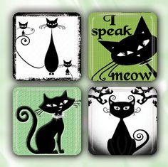Elegants Cats ANM113 Set of 4 Glass Tile Magnets 1 by imcreations2, $14.95
