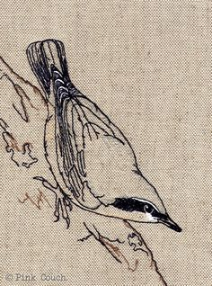 Machine Embroidery Nuthatch Embroidery freemotion framed by PinkCouchUK on Etsy, - Bird Applique, Bird Embroidery, Free Motion Embroidery, Cross Stitch Embroidery, Embroidery Ideas, Freehand Machine Embroidery, Machine Embroidery Patterns, Thread Painting, Thread Art