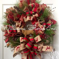 Country Wreath, Rustic Wreath, Christmas Wreath, Mesh Wreath, Deer by WilliamsFloral on Etsy https://www.etsy.com/listing/208840024/country-wreath-rustic-wreath-christmas