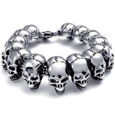 Heavy Large Stainless Steel Gothic Skull Mens Bracelet, Color: Silver, Black (with Gift Bag) http://www.skullclothing.net/?product=konov-jewelry-heavy-large-stainless-steel-gothic-skull-biker-mens-bracelet-color-silver-black-with-gift-bag