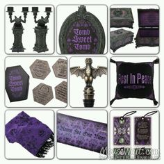 9 New Haunted Mansion merchandise. New items are: Candelabra, frame, music box, coasters, bat bottle stopper, pillow, a throw, candy dish, and tarot cards! Want, want, want!!!