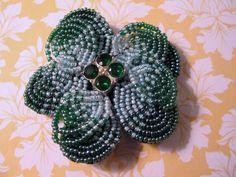 Microbead Brooch Pin Dimensional Layered Green Rhinestones Estate Jewelry  #unsigned
