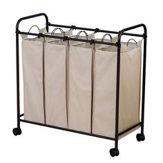 Amazon.com - Household Essentials Rolling Quad Sorter Laundry Hamper with Natural Polyester Bags, Antique Bronze Frame