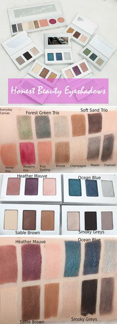 Swatches of ALL the Honest Beauty Eyeshadow Palettes!