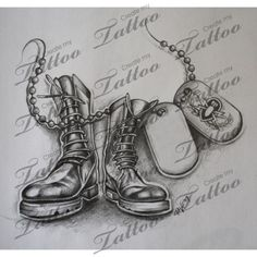 Military boots && tags