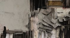"""SETH CLARK: Collapse XXIII (detail)  48"""" x 48"""" Collage, Charcoal, Pastel, Acrylic, Graphite on Wood"""