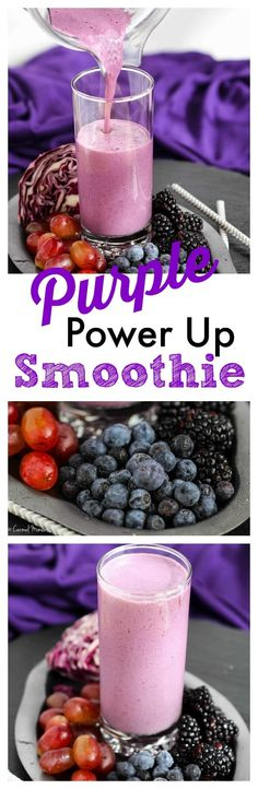 Purple Power Up Smoothie via @carmelmoments // A delicious blend of red cabbage, berries and grapes. This healthy smoothie is full of healthy fruits and vegetables to get the day started the right way!