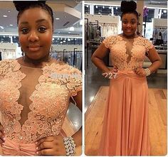 A Line Chiffon Lace Beaded Plus Size Prom Dresses Sexy Formal Evening Gowns