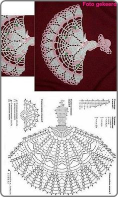 Crochet Crinoline Lady Doily with an umbrella lace Applique girl Home decoration Mother day gift Crochet Dollies, Crochet Doll Dress, Crochet Doily Patterns, Crochet Diagram, Crochet Chart, Thread Crochet, Filet Crochet, Crochet Motif, Mode Crochet