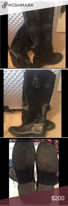 TORY BURCH BLACK LEATHER RIDING BOOTS Black leather riding boots from Tory Burch. These were one of the original riding boot styles and has a big silver emblem on both sides. These have been worn and are broken in to perfection. So soft and comfortable. Size 8 will fit 8.5. Beautifully made. Two inch stacked heel. Tory Burch Shoes Heeled Boots