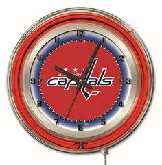 """Clock 19"""" Dia. - Washington Capitals. Cool wall clock. Excellent gift idea for the Caps fan"""