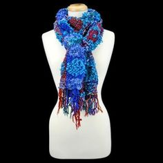 NWT FALL WINTER SCARF Bright blue Burgundy Long WARM FASHION STYLE nubby texture in Clothing, Shoes & Accessories, Women's Accessories, Scarves & Wraps | eBay