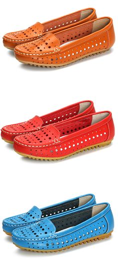 US$14.17 Hollow Out Comfortable Leather Loafers Soft Sole Casual Shoes