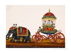 Elephants Pulling a Carriage Belonging to a Wealthy Man, from Thanjavur, India Giclee Print at AllPosters.com
